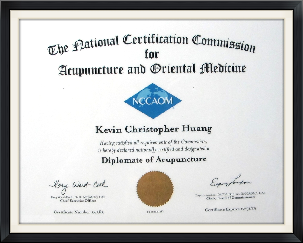 Diplomate of Acupuncture - Kevin Huang