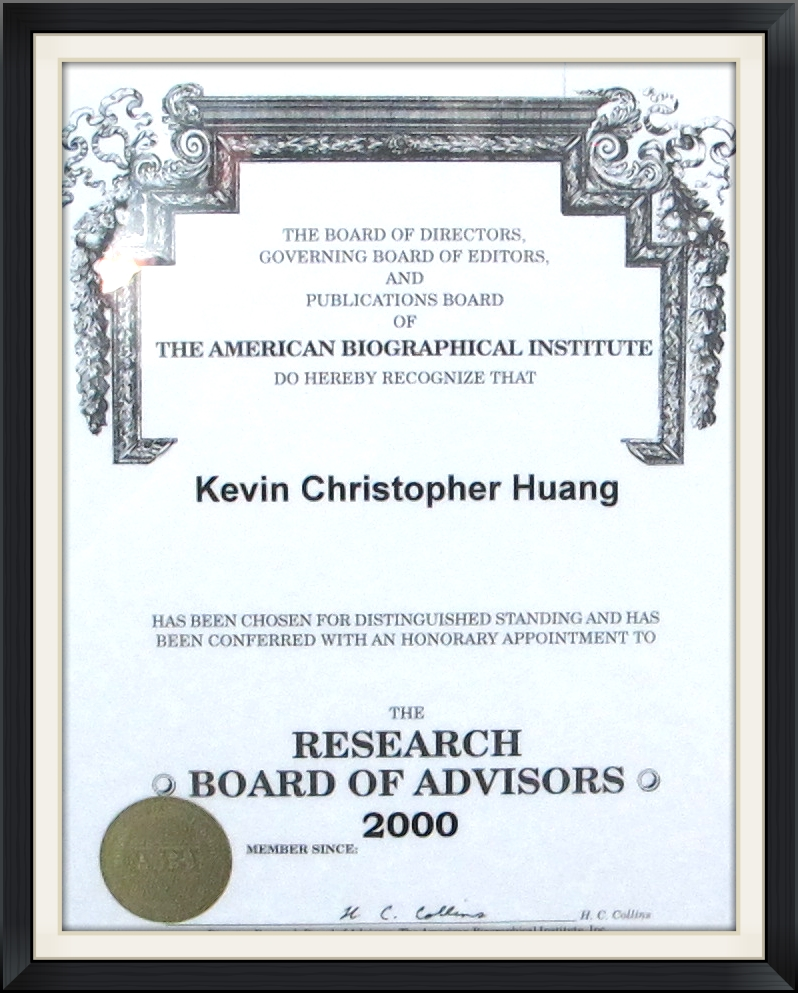 American Biographical Institute - Kevin Christopher Huang