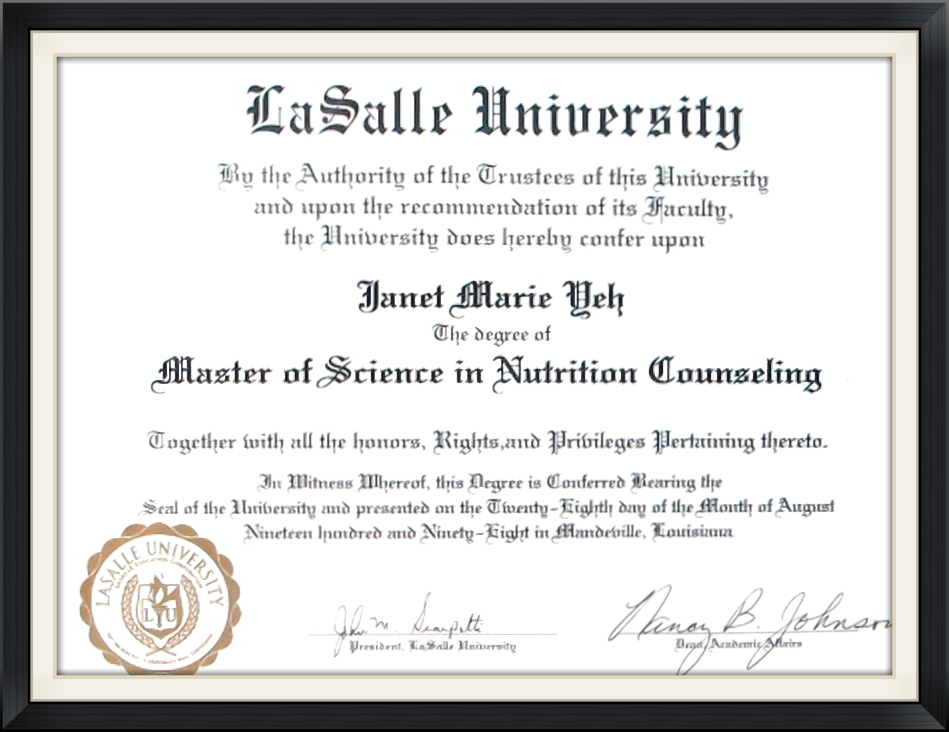 Nutrition - Ph.D. and Masters - Dr. Janet Yeh