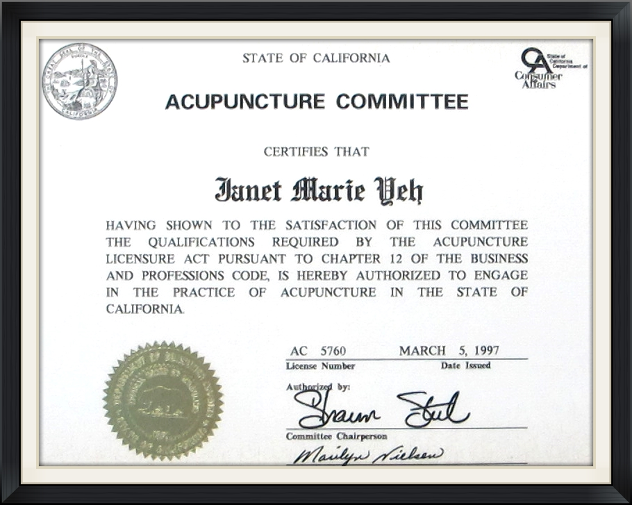 California Licensed Acupuncturist - Dr. Yeh
