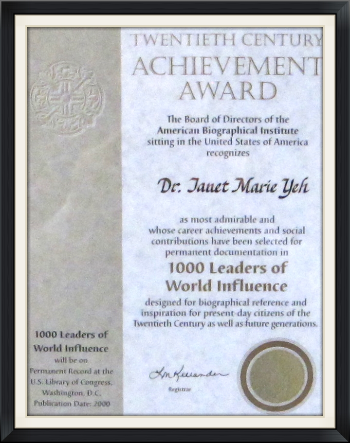 1000 Leaders of World Influence - Dr. Yeh