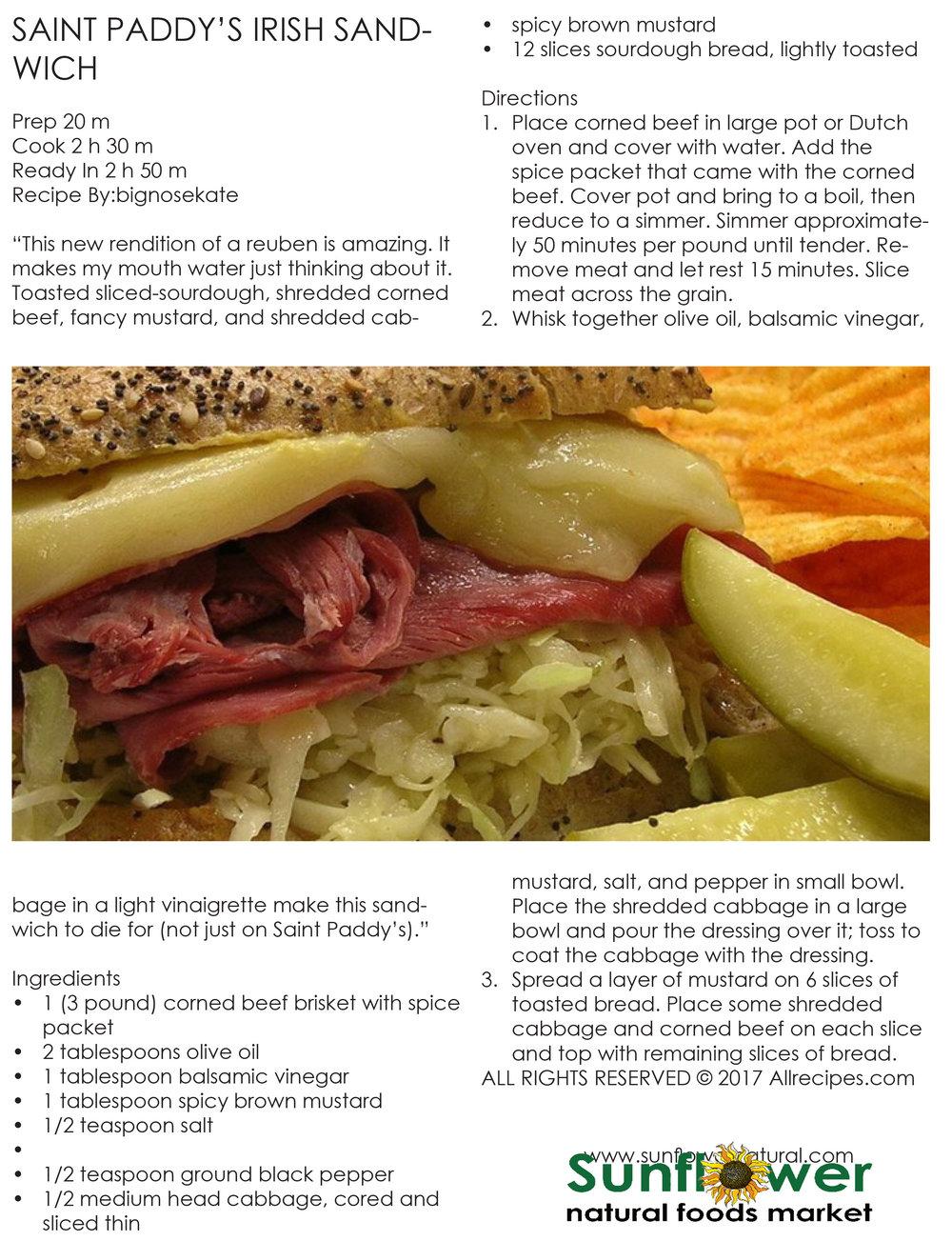 St. Patty's Day Irish Sandwich