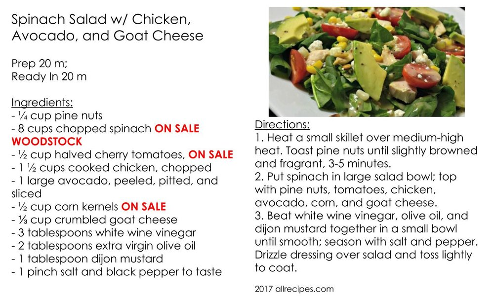 Spinach Salad w/ Chicken, Avocado, and Goat Cheese