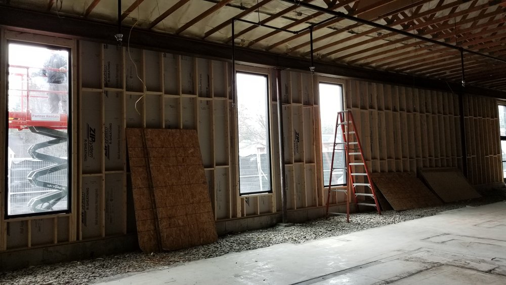 Phase 2:  interior of framing out front of store
