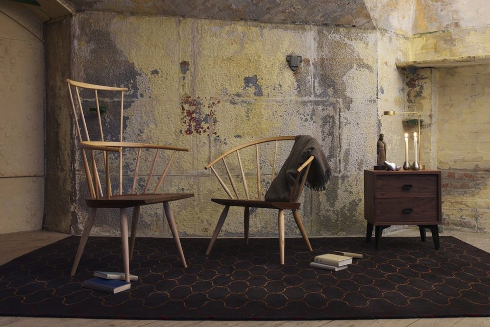 Kimble armchair with Burnham chair and McQueen bedside unit,designed by Matthew Hilton