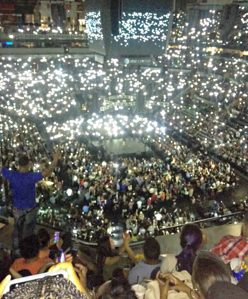 Phones weren't allowed out during the performances, but at one point they told us to light the place up with our phones. So literally, it was lit.