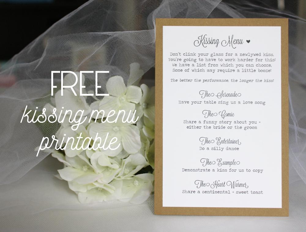 Free Kissing Menu Printable Always By Amber