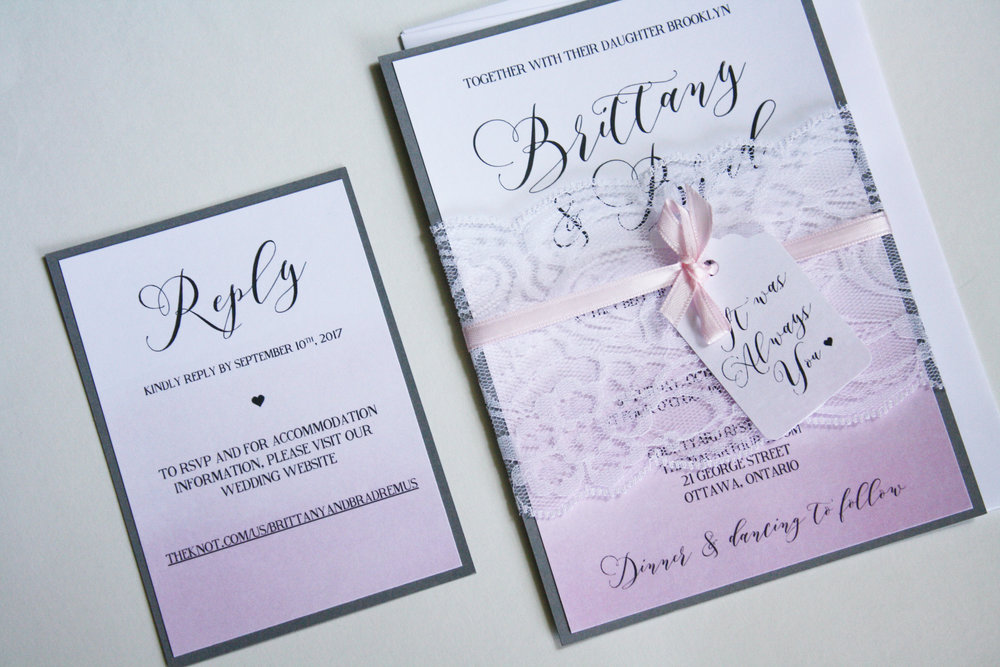 Grey and Blush Ombré Wedding Invitations