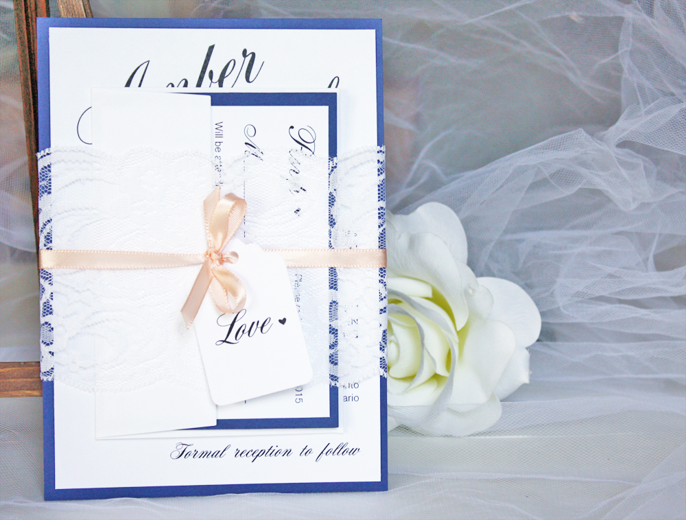 navy blue and peach lace wedding invitations always by amber