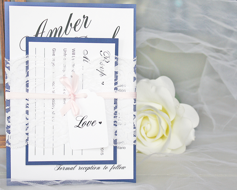 Navy Blue and Blush Pink Lace Wedding Invitations — always, by amber