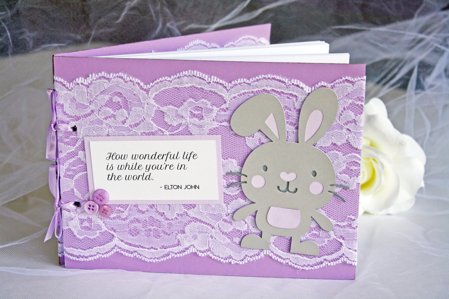 Purple Lace Bunny Baby Shower Guest Book Always By Amber