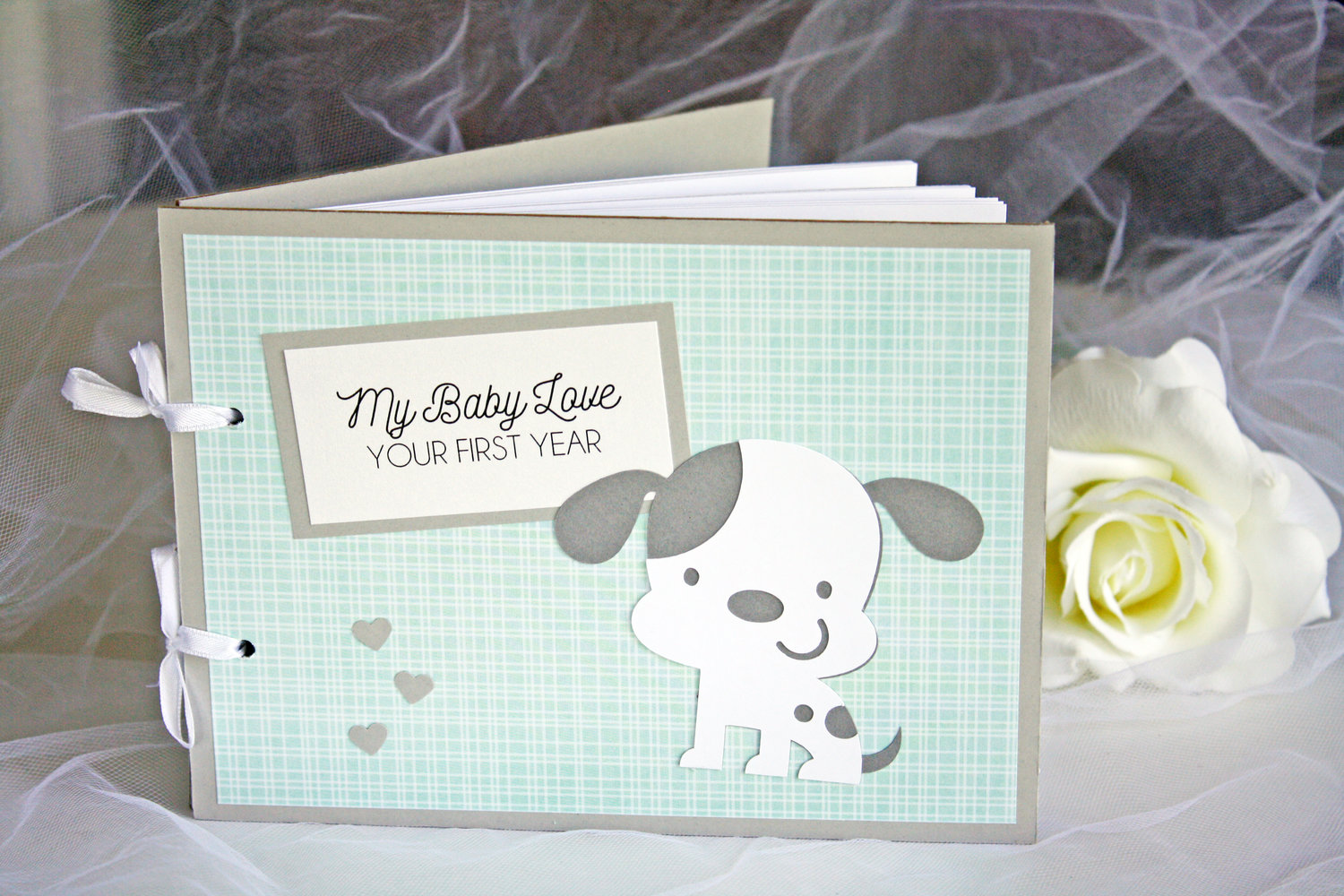 Teal Grey Puppy Baby Shower Memory Book Always By Amber