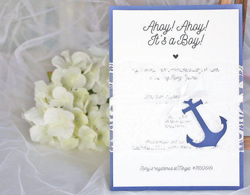 Navy Blue And White Lace Nautical Baby Shower Invitations