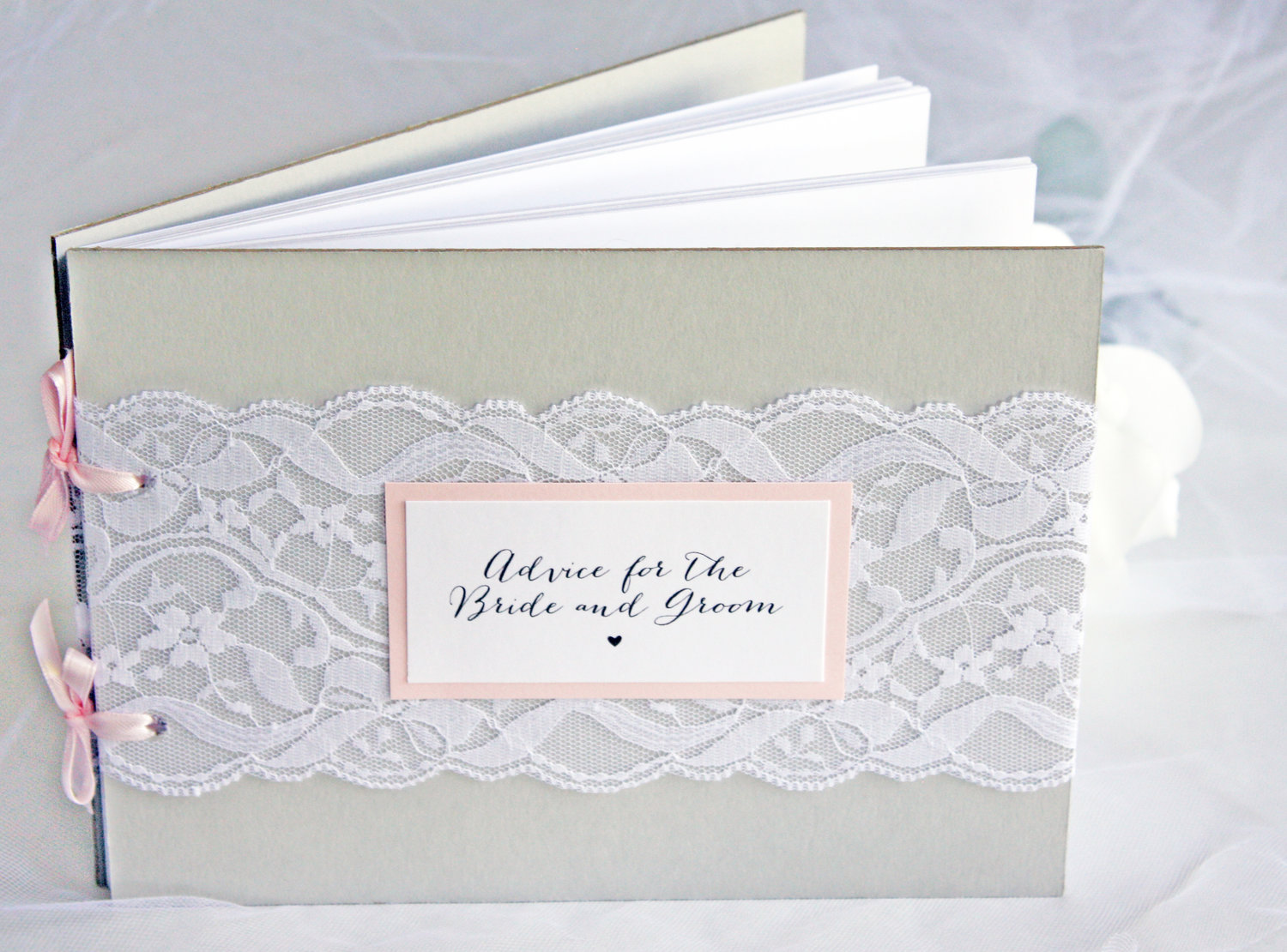 grey and blush lace bridal shower advice guest book