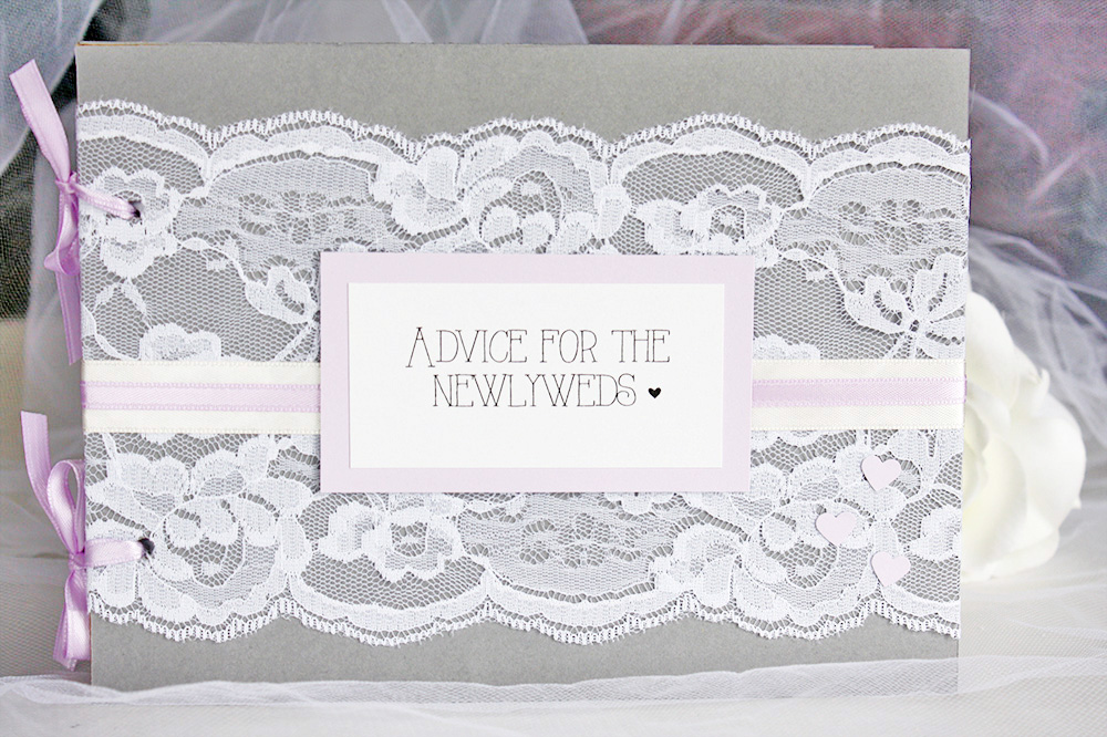 grey and lavender lace advice for the newlyweds bridal shower book