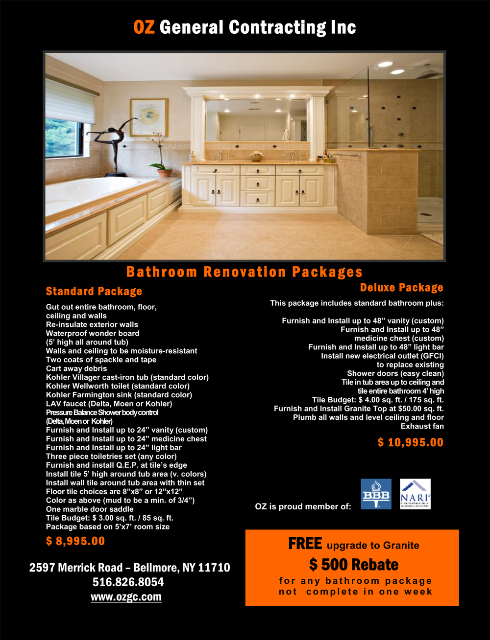 OZ Deluxe Bathroom Package 1-14-16
