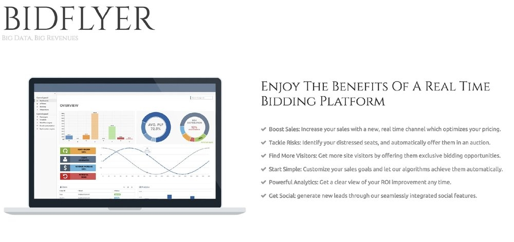 Bidflyer  is a real-time auctions platform for airlines. Their platform increases the airline's load factor and revenues by auctioning its unsold inventory on the airline's website and mobile app.