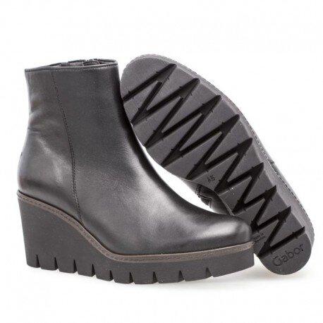 Gabor Black Leather Wedge Boot — Heels