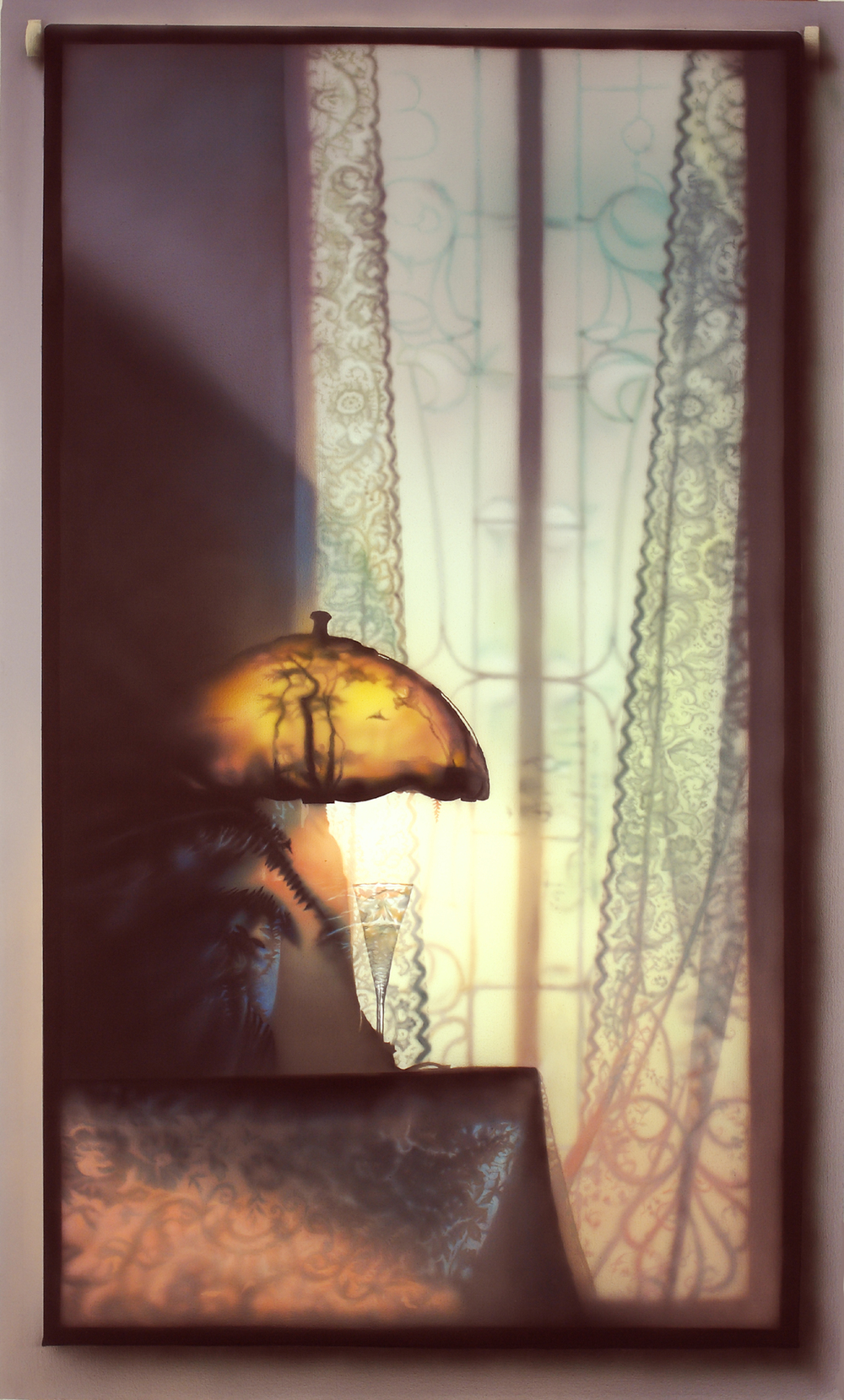 Lamp with Painted Shade