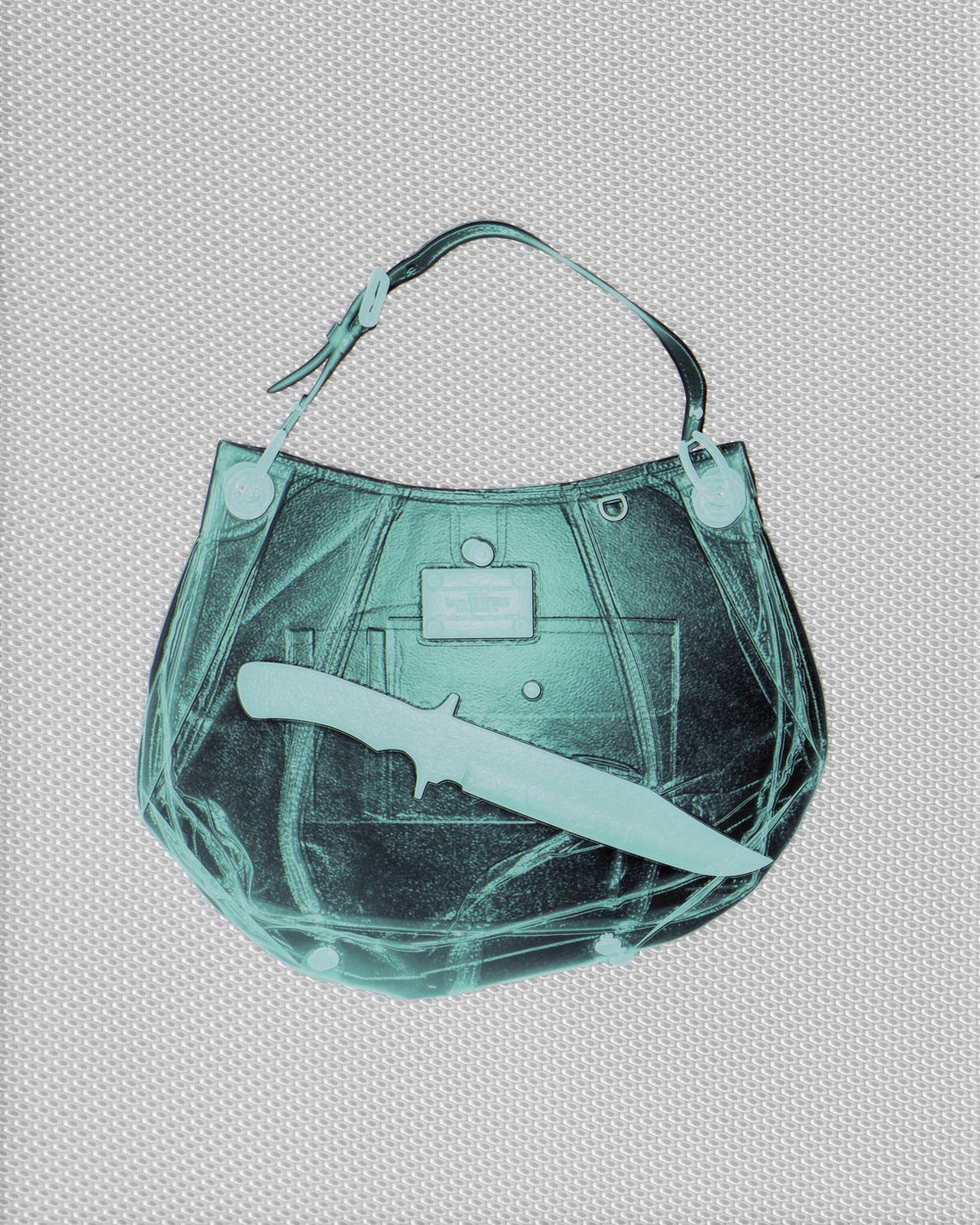 Turquoise Louis Vuitton Handbag With Knife