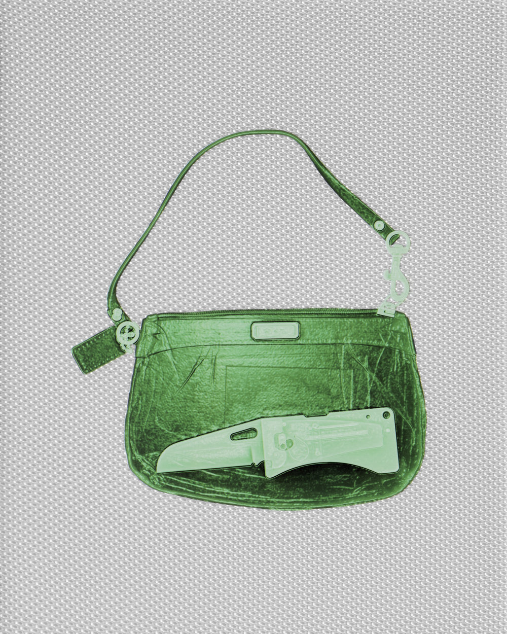 Green Coach Handbag with Knife