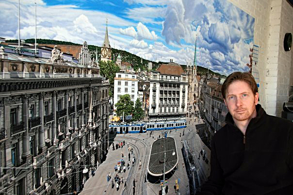 Anthony Brunelli with his painting,  Paradeplatz , the famous square in Zurich