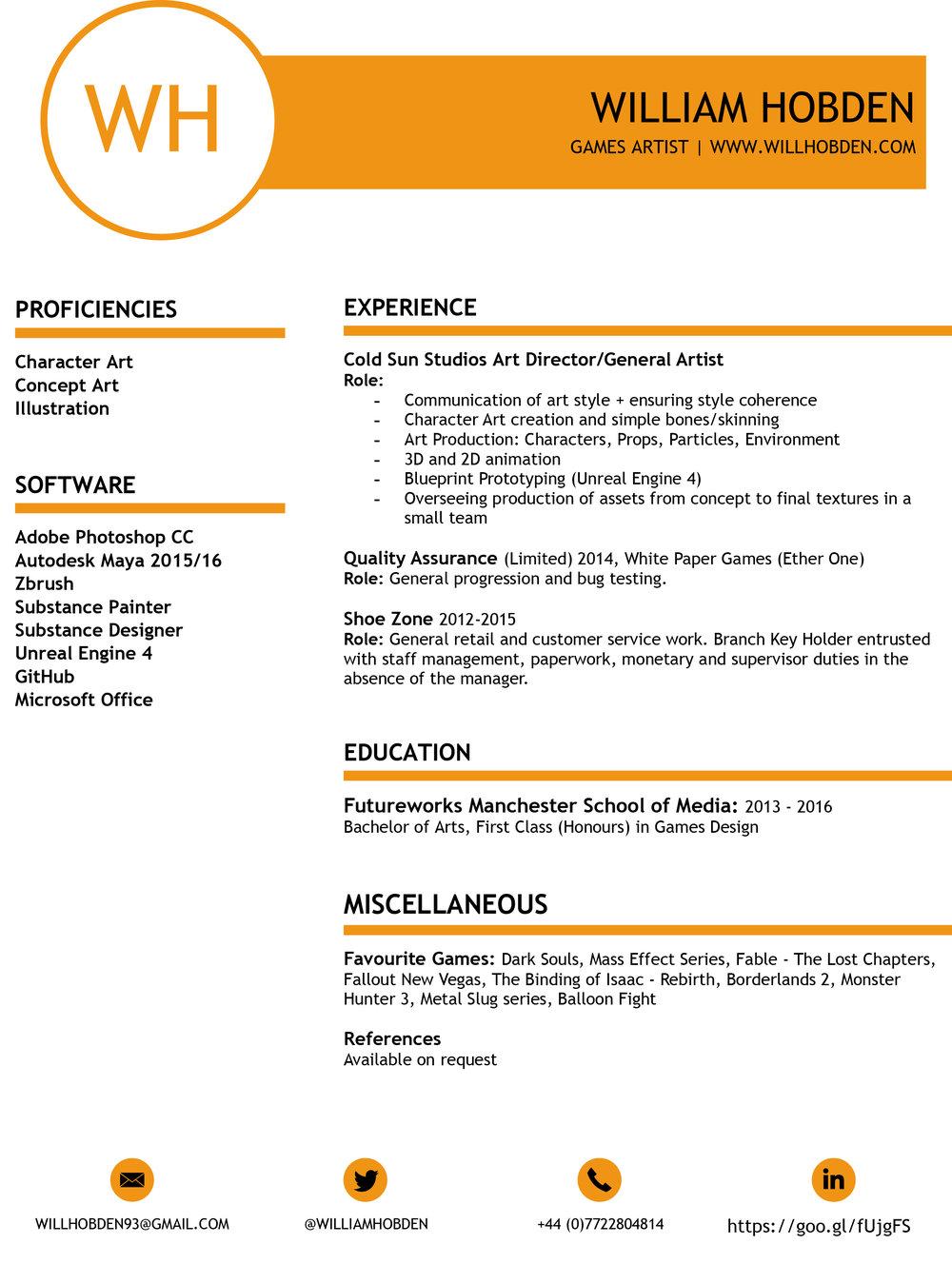 Resume — William Hobden