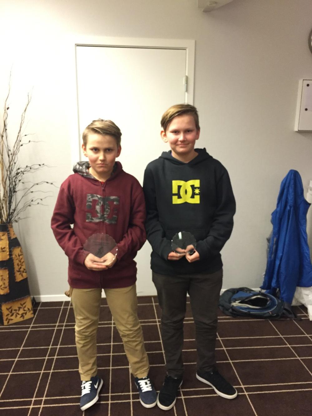 Klubbmesterskap terreng: nr 1 Philip Storbråten, nr 2 Iver Hole (ikke på bildet), og nr 3 Oliver Storbråten