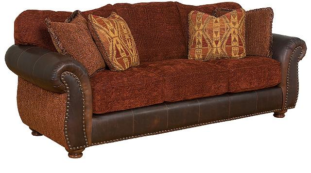 Santana Leather and Fabric Sofa