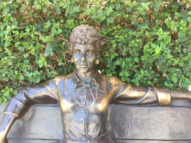 And, as I must from time to time, I check to see that the Lucy statue's foliage is properly trimmed. It is my own private civic duty.