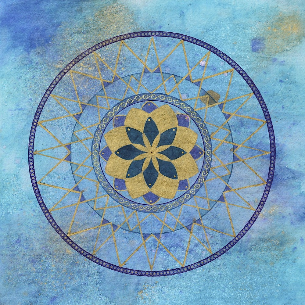 Turquoise & Gold Mandala by Lynn Hanford-Day
