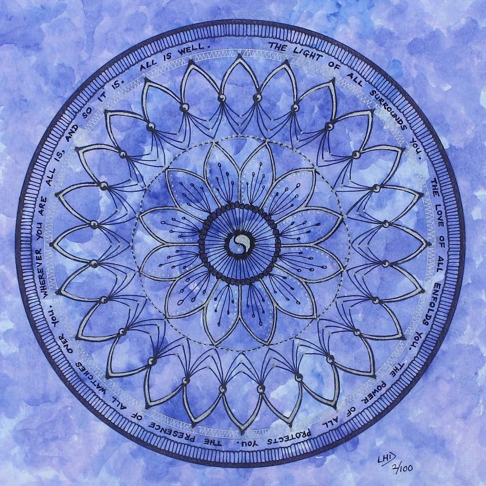 Lilac Mandala with Verse by Lynn Hanford-Day