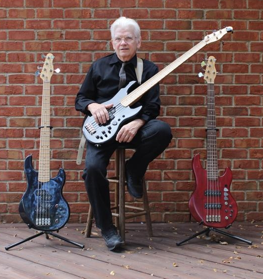 David Hungate with his three Alien Audio basses