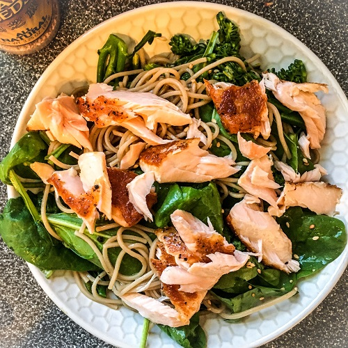 Soba Noodles with Salmon, Spinach and Broccolini