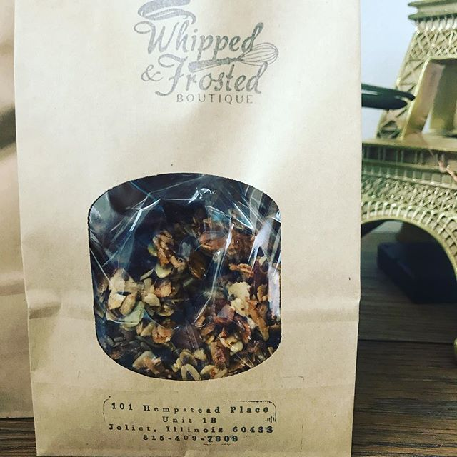 Have you tried our granola? Stop in to grab a bag. Perfect addition to your yogurt or enjoy it on it's own.  #whippedandfrostedboutique #granola #fromscratch #bakery #newlenoxillinios #jolietillinois #southsuburbs #shoplocal #smallbusiness #familyowned