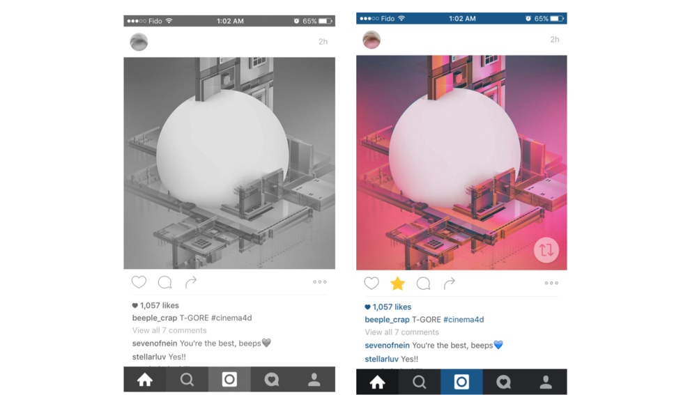 "1. Collection & Repost: On the left is the original version. To the right, a ""collection"" star is added as well as the ""regram"" icon."