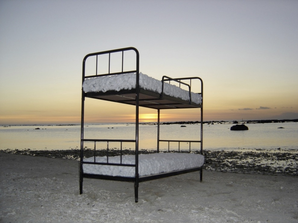 Nirveda Alleck, Together We Shall Sail the World, site-specific installation with bunker bed and wool