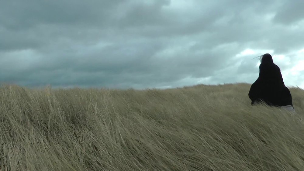 Adele Vye,  Attempts Above and Below Sea Level: Drift Factor , 2017.  Performance-video, filmed on the coast of Aberavon, Wales during storm Dora  Featured in 'the [...] space' April 4 - May 21, 2017