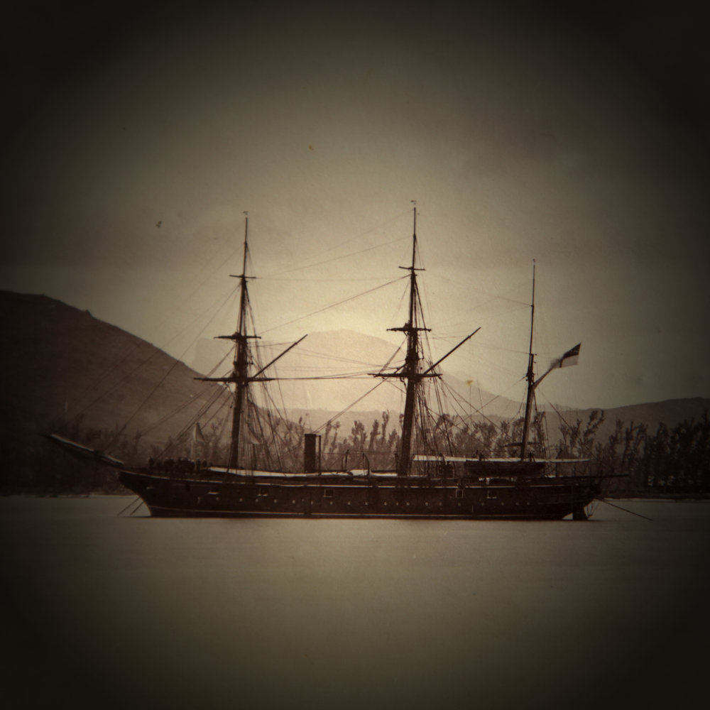 Shiraz Bayjoo    Corps de garde    Digital photo transparency  50 x 50 cm  2017  Image source: Steam sloop with Moka mountain (Mauritius) in the background - Missionary photo collection, 1860-1900