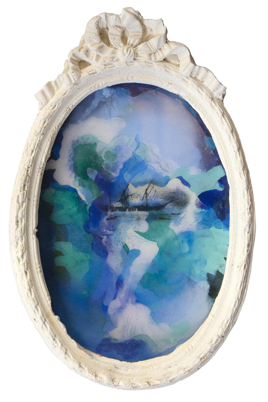 Shiraz Bayjoo    Naufrage du Dalbair No.2    Acrylic, resin, wood, plaster  35 x 52 x 5 cm  2017