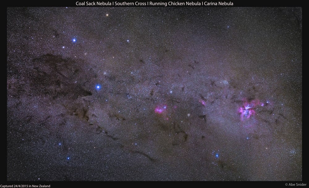 Multi-tile panorama of the Crux region of space. From left is the: Coalsack, Southern Cross, Running Chicken Nebula and the brilliantly colored Carina Nebula on the far right.