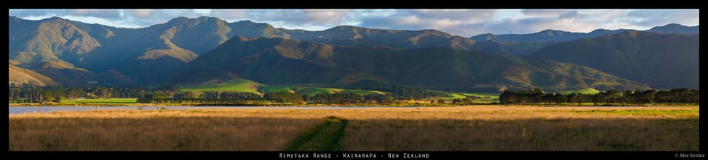 Panorama of the Rimutakas, near Wellington.