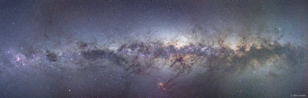 The current version of my multi image Panorama of the Milky Way . It is about half way complete and soon I will add more tiles from the part of the band more commonly seen in the northern hemisphere.