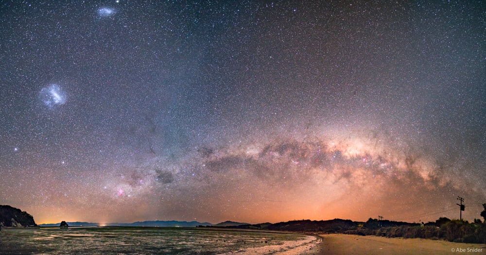 The arch of the heavens over Cape Puponga, New Zealand.