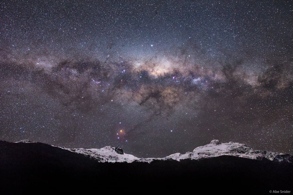 Milky Way setting over Gunns Camp Valley, New Zealand.