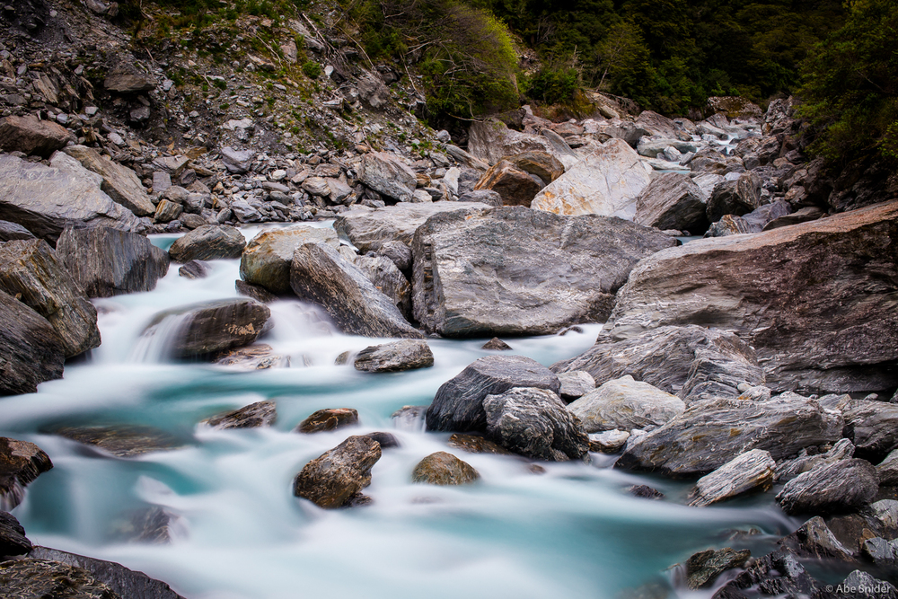 Water rushing through Mount Aspiring National Park, New Zealand.