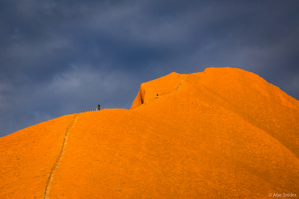 The VERY steep climb to the false summit of Uluru.