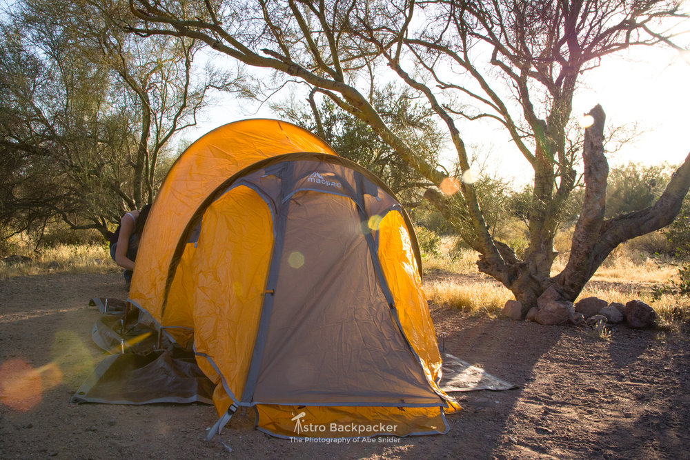 Camping in the Superstition Mountains in the spring.