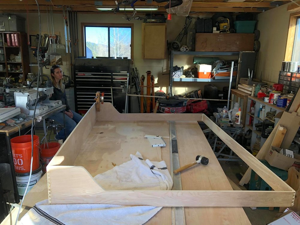 Murphy bed! - The look on Tiffanys face says it all. We ended up wasting an 8' long plank of the wood we were using when we were dovetailing. We forgot to flip it to match with the next dovetail cut. Oops!