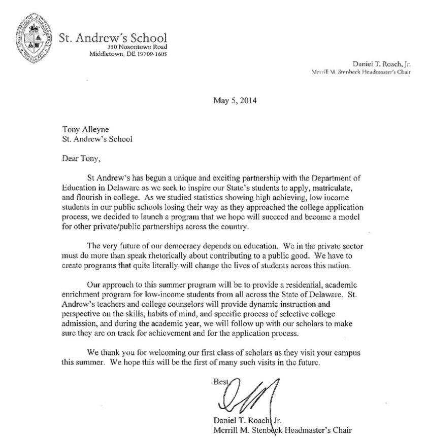 Good Welcome Letter From Daniel T. Roach, Jr. Headmaster Of St. Andrewu0027s School